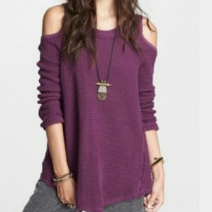 Free People Sunrise Cold Shoulder Thermal Sweater